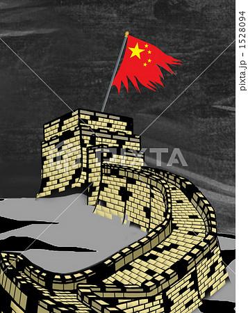 中国国旗と万里の長城