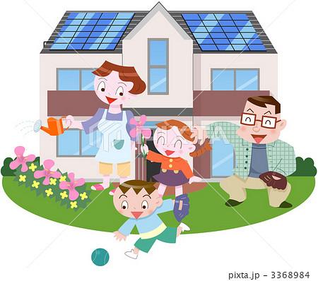 家族 太陽光発電 女の子 4人のイラスト素材 Pixta