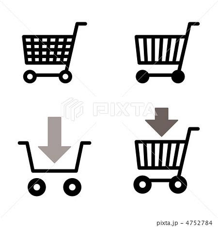 アイコン ショッピング かご モノクロ ショッピングカートのイラスト素材