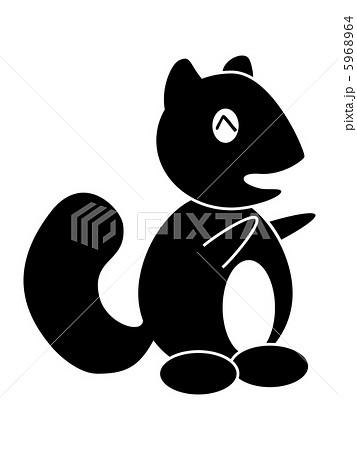 動物 りす キャラクター モノクロのイラスト素材 Pixta
