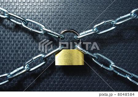厳重に鍵をされた鎖と南京錠の写...