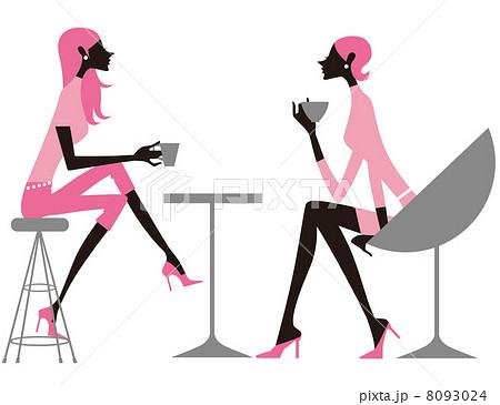 カフェ 女性 背景 スタイリッシュのイラスト素材 Pixta