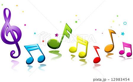 無料イラスト 流れる五線譜と音符 パブリックドメインq著作権フリー
