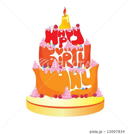 ケーキ 誕生日 イラスト 手書き 祝い かわいいのイラスト素材 Pixta