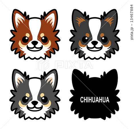 小型犬 チワワ ブラックタン ロングコートのイラスト素材 Pixta
