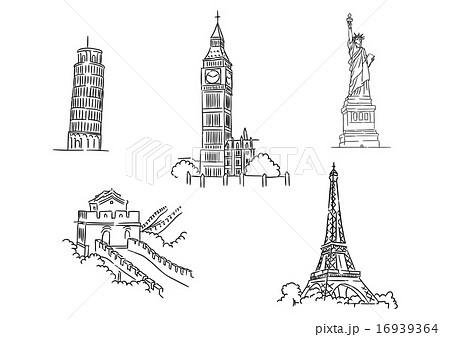Set of famous world landmarks
