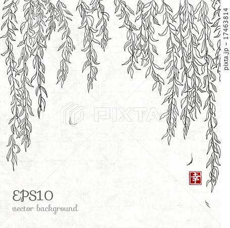 柳 背景 木 柄 イラスト パターン 風景の写真素材 Pixta