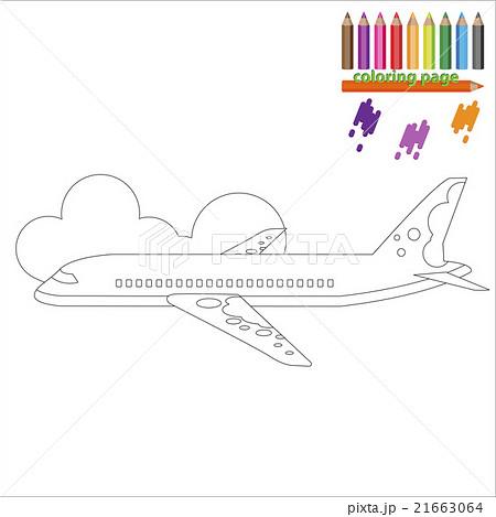 ぬりえ 飛行機 イラスト 挿絵のイラスト素材 Pixta
