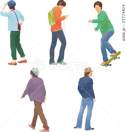 人物 男性 歩く 後ろ姿のイラスト素材 Pixta
