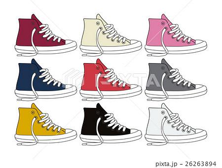 ベクター素材:スニーカー. スニーカー ベクター 靴 線画のイラスト