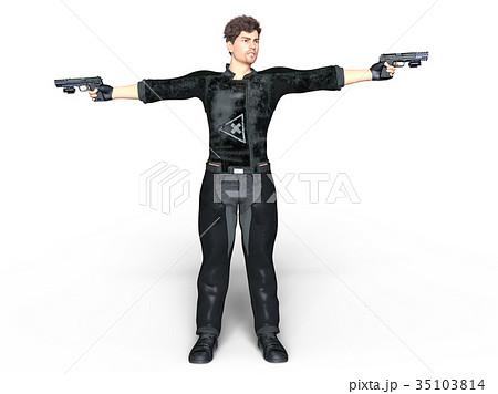 二丁拳銃のイラスト素材 Pixta