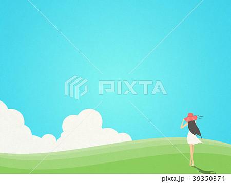 丘 空 女の子 立つのイラスト素材 Pixta