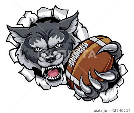 おおかみ オオカミ 狼 アメリカンフットボールのイラスト素材 Pixta